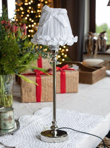 Abażur haftowany biały-mały | lampy-zyrandole-abazury |