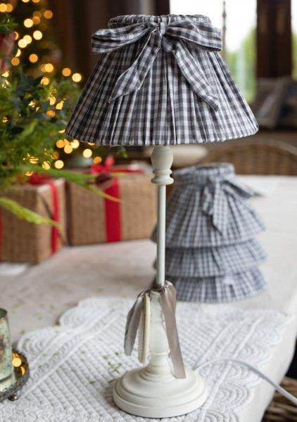 Abażur w kratkę biało-szary   lampy-zyrandole-abazury  