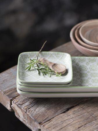 Talerz podłużny CASABLANCA - zielony | talerze-talerzyki |