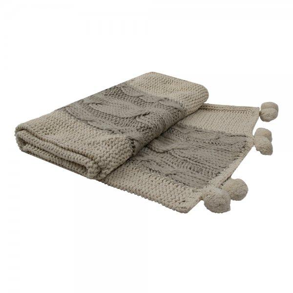 Narzuta KNITTED MULTI POMS 170/130 | koce-poduszki-pledy |
