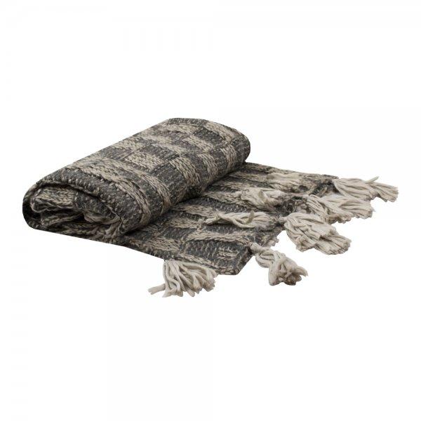 Narzuta CHECK - beżowa 170/130 | koce-poduszki-pledy |