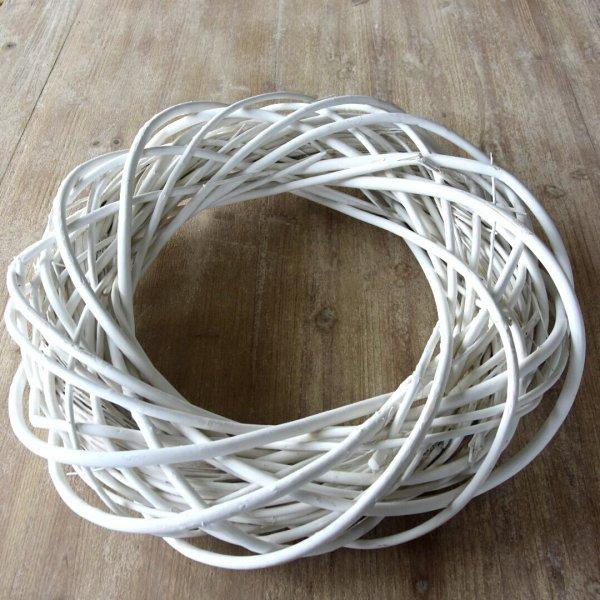 Wianek dekoracyjny biały - 50cm, | koszyki-kosze-wianki |