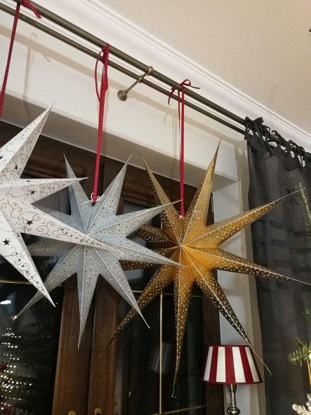 Gwiazda papierowa - biała we wzorki | boze-narodzenie |