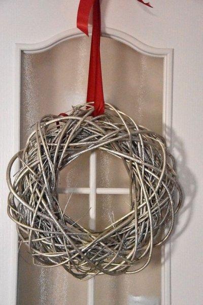Wianek dekoracyjny - złoty 40cm, | boze-narodzenie, koszyki-kosze-wianki |