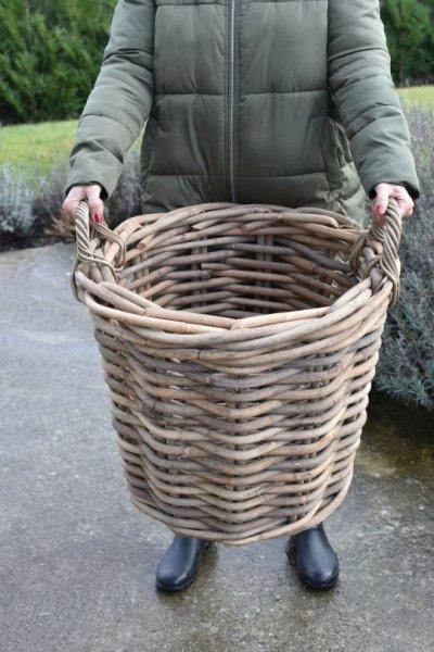 Kosz rattanowy - okrągły - gruby rattan - średnica 58cm | koszyki-kosze-wianki |