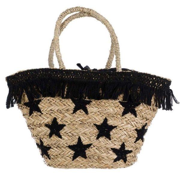 Koszyk plażowy - czarne gwiazdki | dodatki |