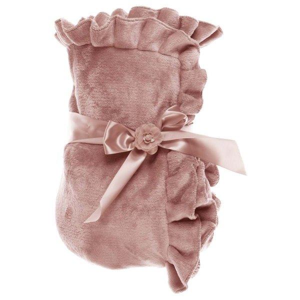 Pled z falbanką w kolorze pudrowego różu... | dodatki |