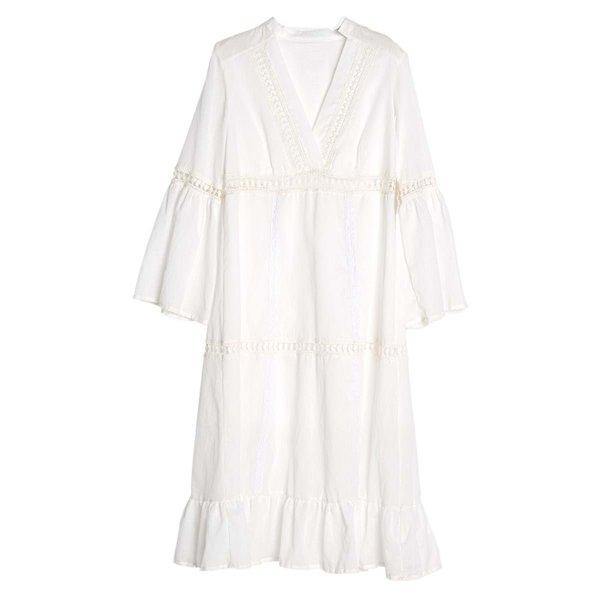 Sukienka długa z rękawami - biała - bawełniana | dodatki |