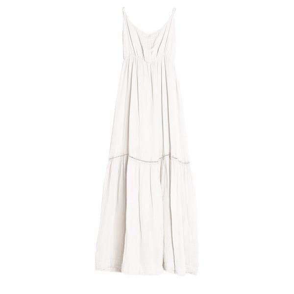 Sukienka długa - biała - bawełniana | dodatki |