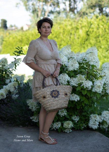 Koszyk damski - letni - z drewnianymi ozdobami | dodatki |