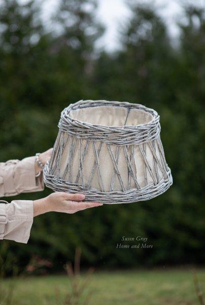 Abażur wiklinowy z płótnem do lampy stojącej | lampy-zyrandole-abazury |