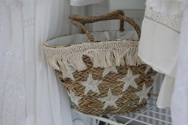 Koszyk plażowy - białe gwiazdki | dodatki |
