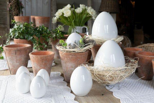 Jajo Wielkanocne białe H9cm | dodatki |