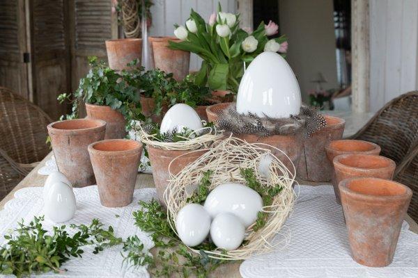 Jajo Wielkanocne białe H21cm | dodatki |