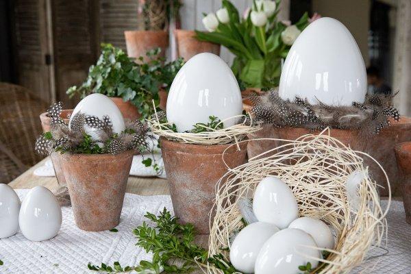 Jajo Wielkanocne białe H16,5cm | dodatki |