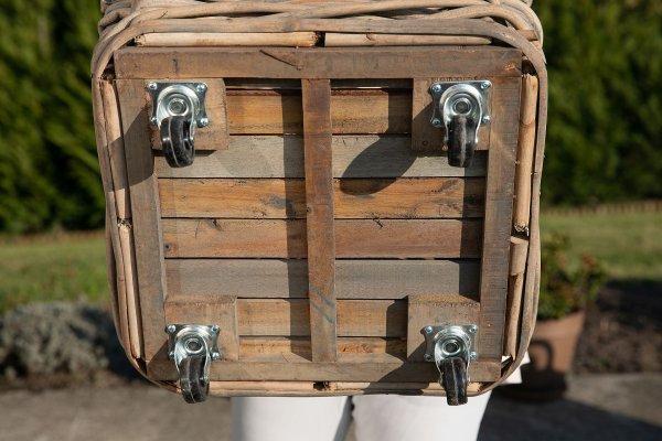 Kosz rattanowyna - kwadratowy - na kółkach - gruby rattan -duży | koszyki-kosze-wianki |