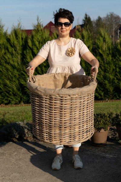 Kosz rattanowy okrągły z wypełnieniem - duży   koszyki-kosze-wianki  