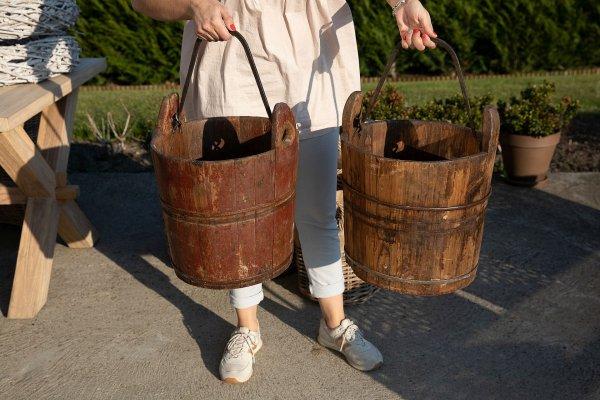 Wiadro drewniane brązowe | dodatki |