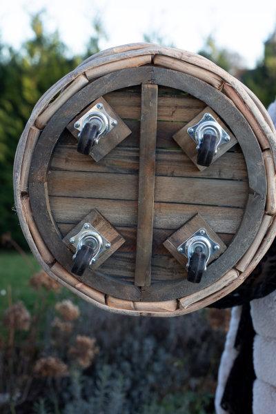 Kosz rattanowy okrągły - gruby rattan - na kółkach - średni | koszyki-kosze-wianki |