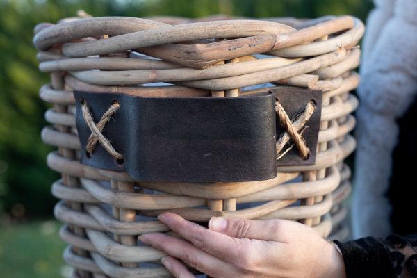 Kosz rattanowy okrągły - gruby rattan - skórzany uchwyt - mały | koszyki-kosze-wianki |