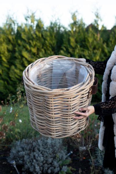 Kosz rattanowy okrągły - gruby rattan - skórzany uchwyt - średni | koszyki-kosze-wianki |
