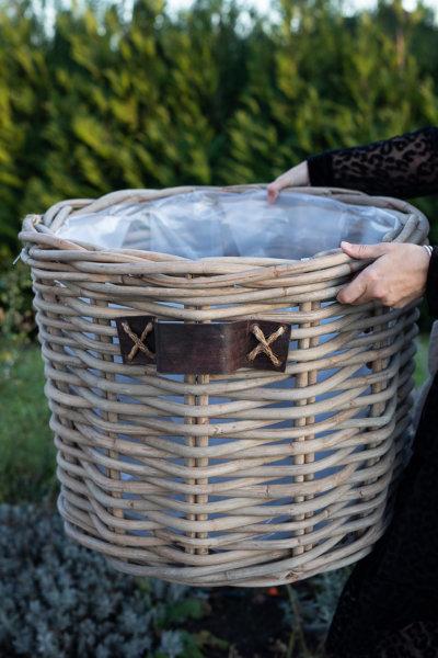 Kosz rattanowy okrągły - gruby rattan - skórzany uchwyt - duży | koszyki-kosze-wianki |