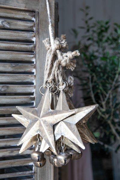 Gwiazda blaszana - złota z kulką - długość ramienia - 15,5cm   dodatki  