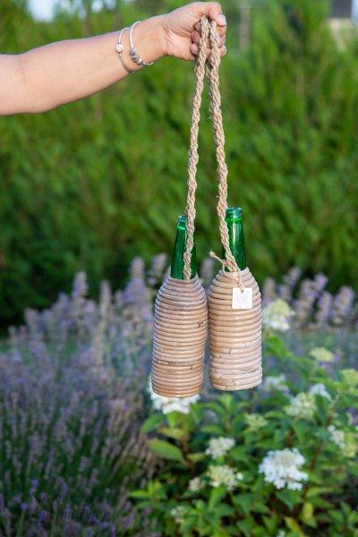Butelka w rattanie - zielona butelka | dodatki |