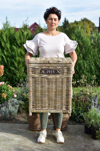 """Kosz rattanowy """"1915"""" na bieliznę - prostokątny   koszyki-kosze-wianki  """