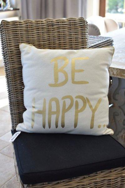 Poduszka dekoracyjna HAPPY - gold | koce-poduszki-pledy |
