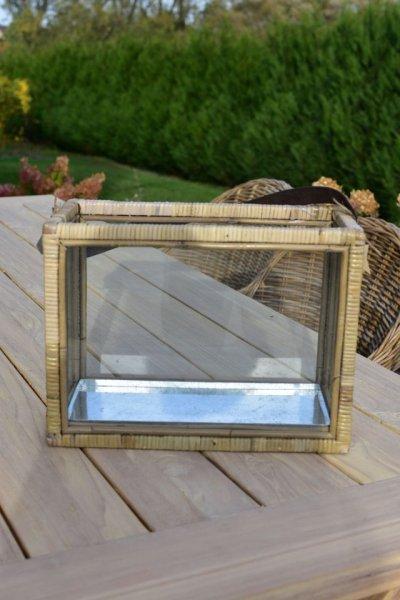 Lampion drewno/szkło 40/20/H30   dodatki  