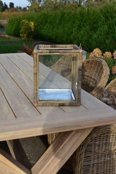 Lampion rattan/szkło - średni 28/28/H34 | dodatki |