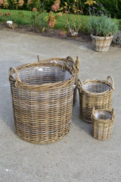 Kosz rattanowy- okrągły z uchwytem D40/H40cm | koszyki-kosze-wianki |