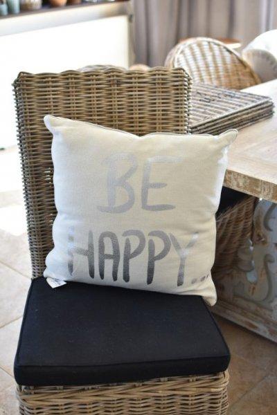 Poduszka dekoracyjna  HAPPY - silver | koce-poduszki-pledy |