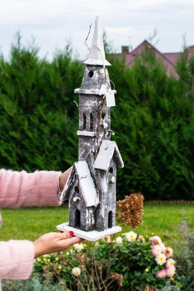 Zamek zimowy - ciemnobrązowy ze światełkami w środku   dodatki  