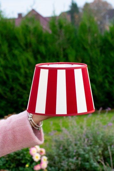 Abażur KING biało-czerwony - owalny | lampy-zyrandole-abazury |